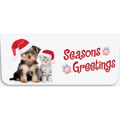 """Seasons Greetings"" Currency Envelope - Dog and Cat w/ Santa Hats"