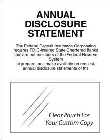 Annual Disclosure Statement, FDIC Banks (Non Fed. Reserve)