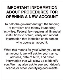 Patriot Act Sign (Important Information)