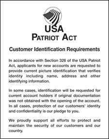 Patriot Act Sign w/ Flag (Customer Identification)