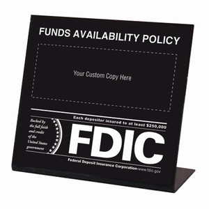 Funds Availability Sign w/ FDIC Logo - CUSTOM