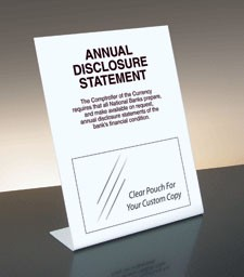 Annual Disclosure Statement, Comptroller of Currency