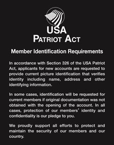 Patriot Act Sign w/ Flag (Member Identification) - Magnetic
