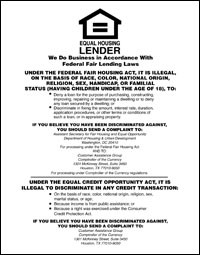 Equal Housing Lender, National Banks