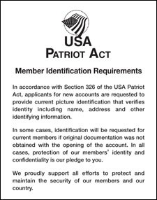 Patriot Act Sign w/ Flag (Member Identification)
