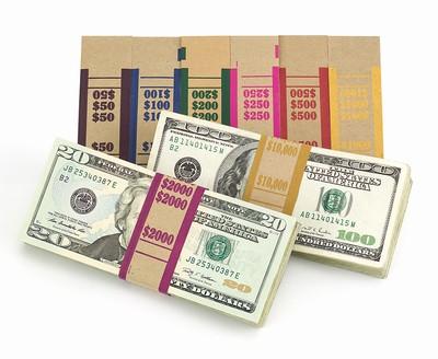 Currency Bill Straps - Brownkraft $10000 Capacity/Lt. Mustard