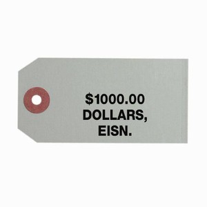 Coin Bag Tag - Dollars/$1000/Gray