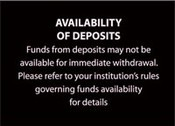 Funds Availability ATM Sign